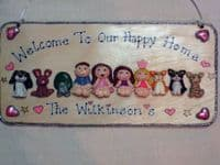 10 CHARACTER LARGE FAMILY WEDDING or TEACHER SIGN PLAQUE PEOPLE PETS CAT DOG BIRD ANY PHRASING UNIQUE GIFT